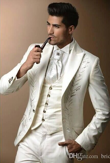 Custom Made Three Pieces Groom Tuxedos Real Picture Wedding Suits For Men Groom ...