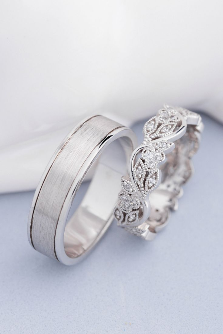 His and hers wedding rings. Wedding rings set. Unique wedding rings. Matching wedding ...