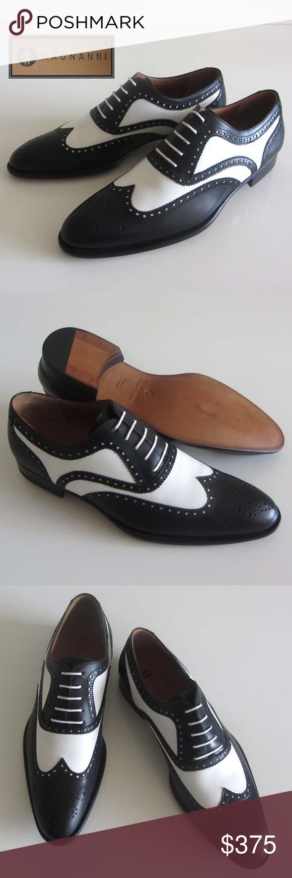 new MAGNANNI wingtip brogue spectator shoes 8.5 M Men's black and white leat...