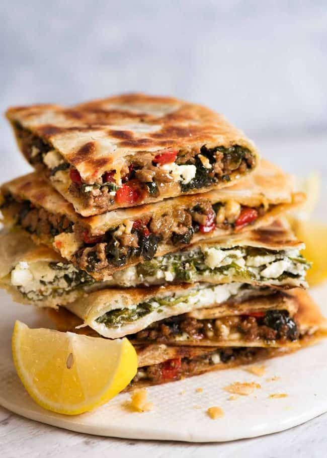 Gozleme (Spinach & Feta and Beef or Lamb Mince Fillings)