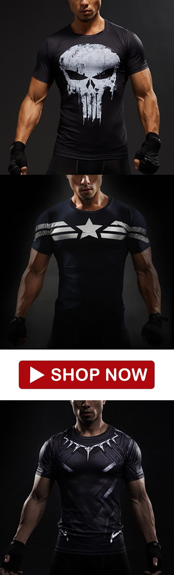 Up To Size 4XL Only USD$25.80  3D Marvel Avengers Captain America Gym Workout T-...