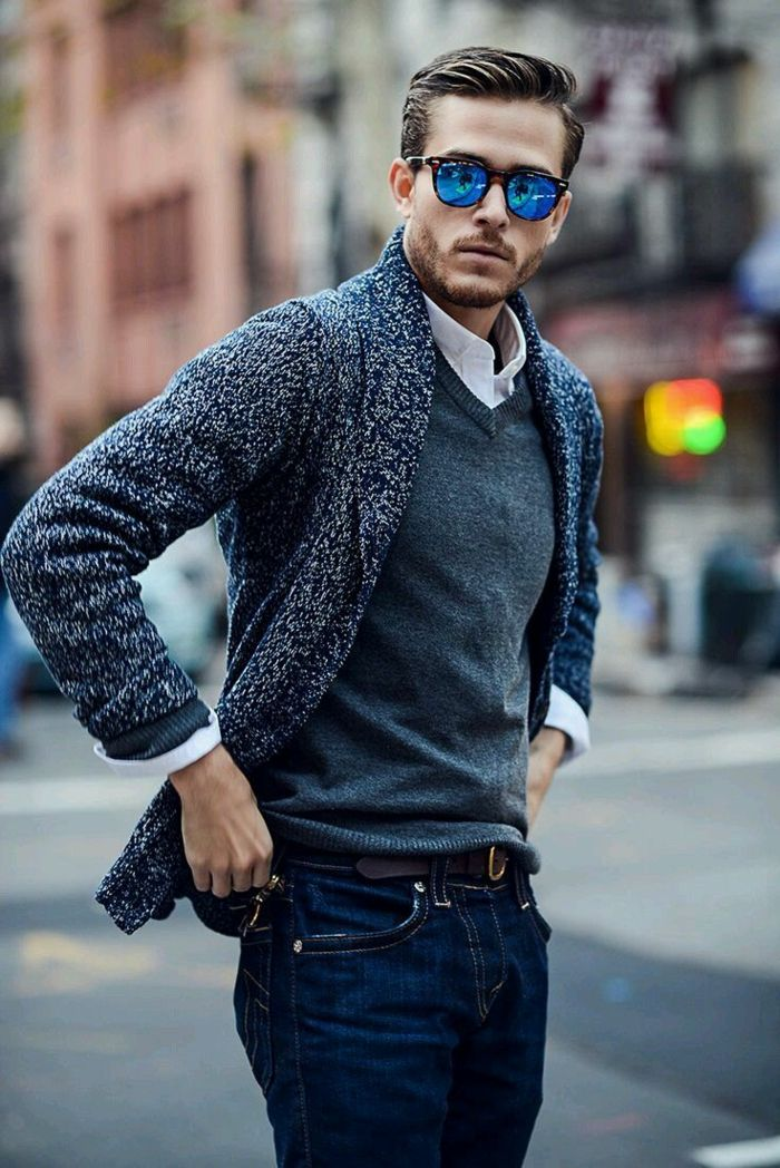 Why wear a coat and blazer if you can look great in a cardigan ...