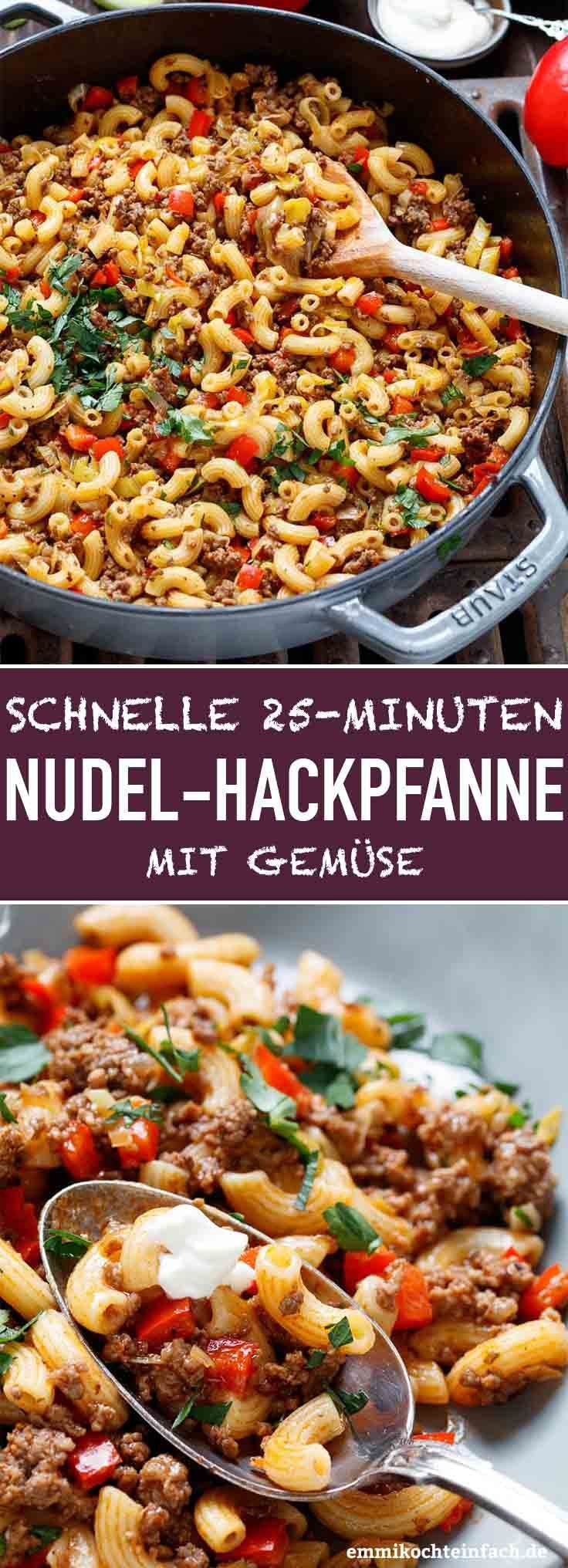 Quick Hackpfanne with Hörnchennudeln and vegetables | The simple recipe will be ...
