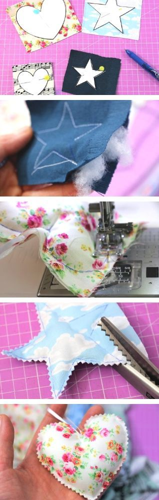 Freebie: Sew on pendants with free sewing pattern. From scraps of cloth can ma ...