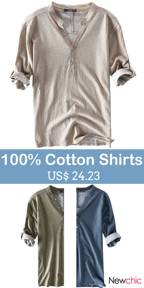Casual 100% Cotton Breathable Solid Color Half Sleeve Spring Summer Buttons T Sh...