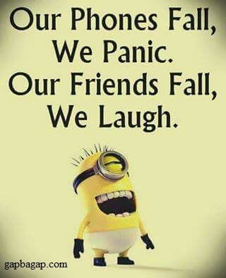 Funny Minion Joke – Phones vs. Friends... - friends, Funny, funny minion quote...