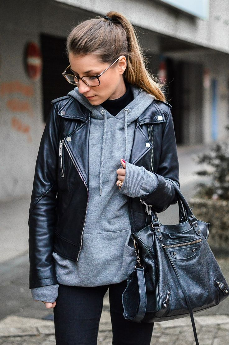 Street Style :: With Hoodie & Leather Jacket