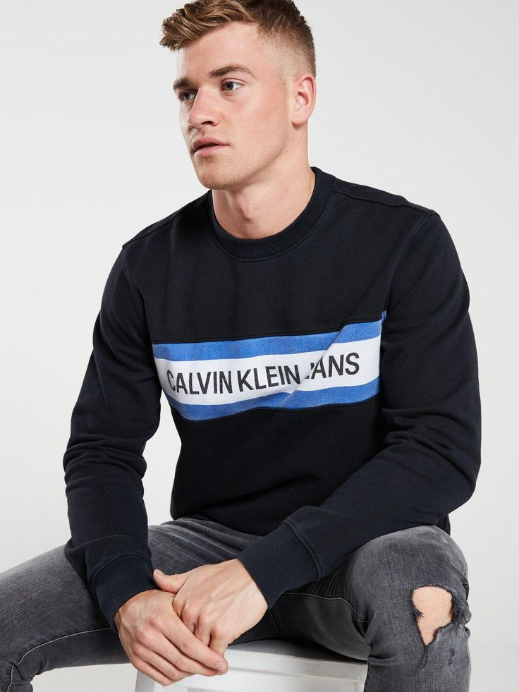 Calvin Klein Jeans Institutional Logo Front Stripe Sweatshirt - Black, Black, Si...