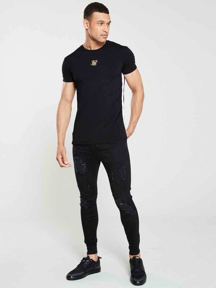 Sik Silk Distressed Skinny Jeans - Black, Black, Size 2Xl, Men - Black - 2Xl