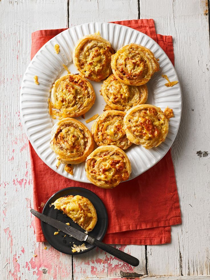 Puff pastry mince rolls with minced meat, mushrooms and cheese
