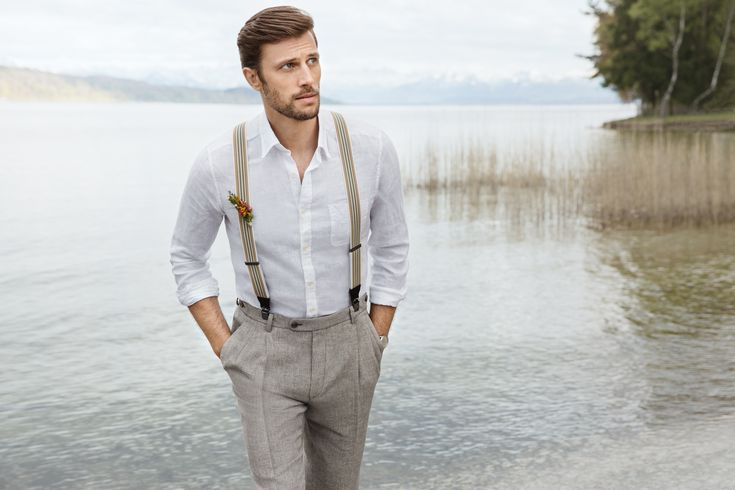 Wedding suit in vintage look - with linen trousers and matching suspenders. A ...