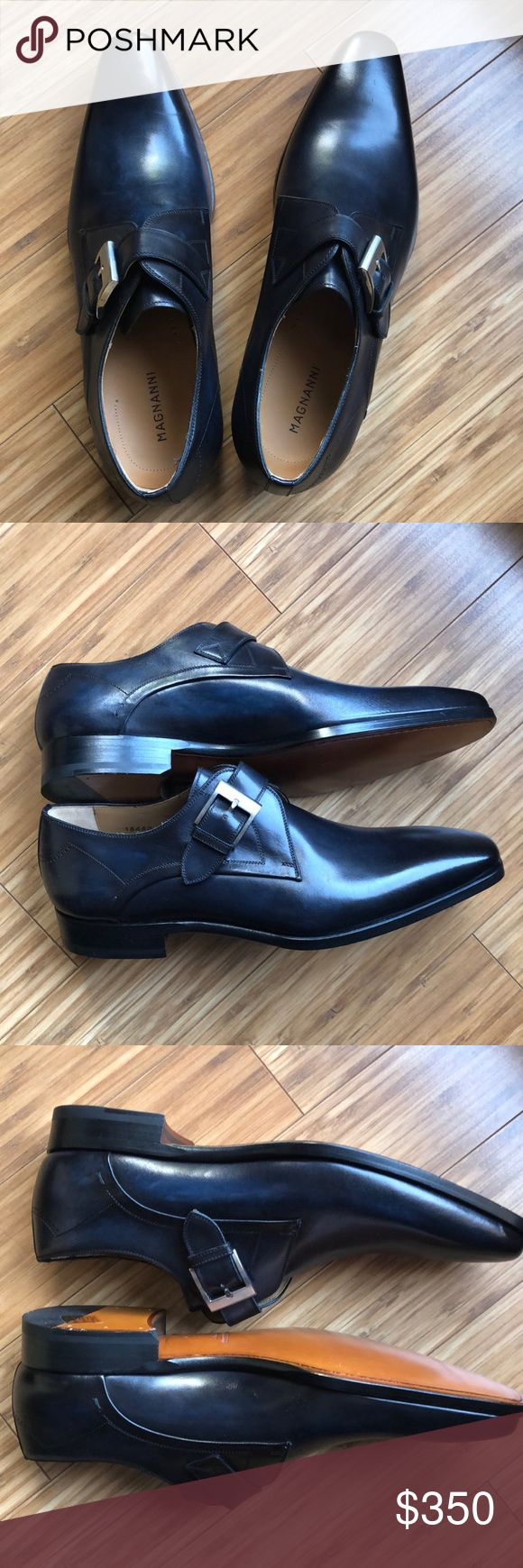 Magnanni Navy dress shoe with buckle NWT navy blue patina dress statement shoe. ...