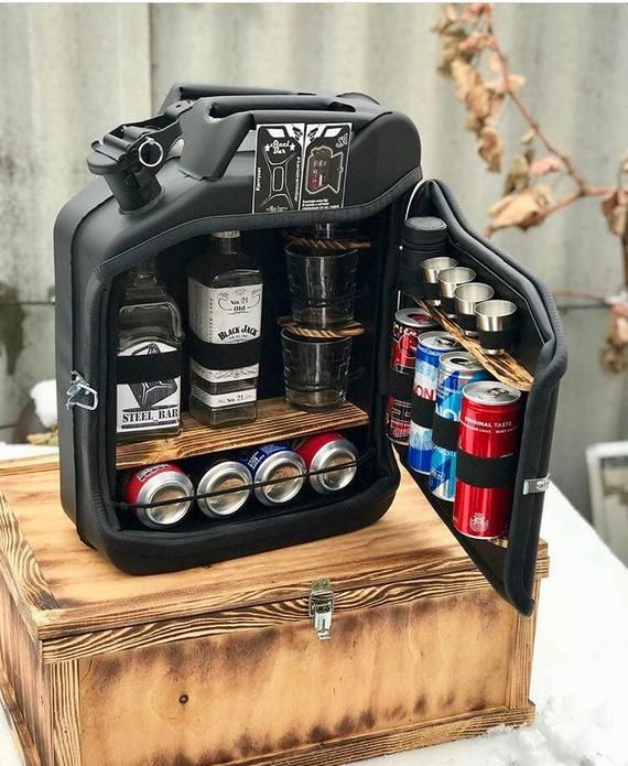 Mini bar consists of new fuel canisters. Standard 20 l metal can, wood ...
