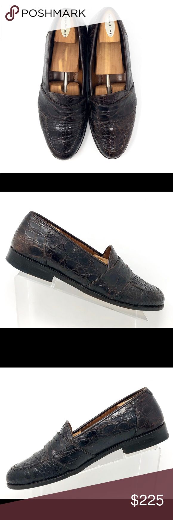 Magnanni Louie Brown Crocodile Skin Penny Loafers Brand- Magnanni.  Style- Louie...