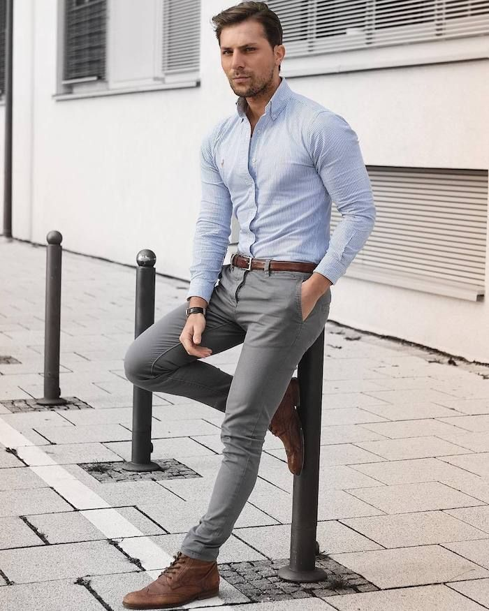 gray trousers brown shoes light blue shirt ideas for perfect styling men fashion