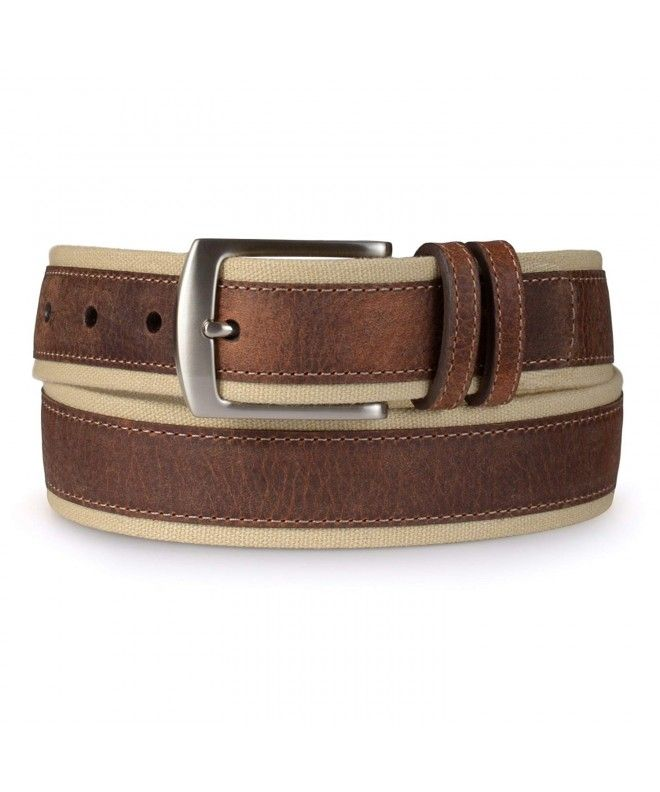 Mens Casual Leather Overlay Canvas Belt - Khaki - CT11YW22HJ1  #Accessories #gif...