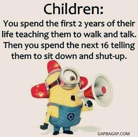 Funny Minion Joke About Kids... - Funny, funny minion quotes, Joke, Kids, Minion...