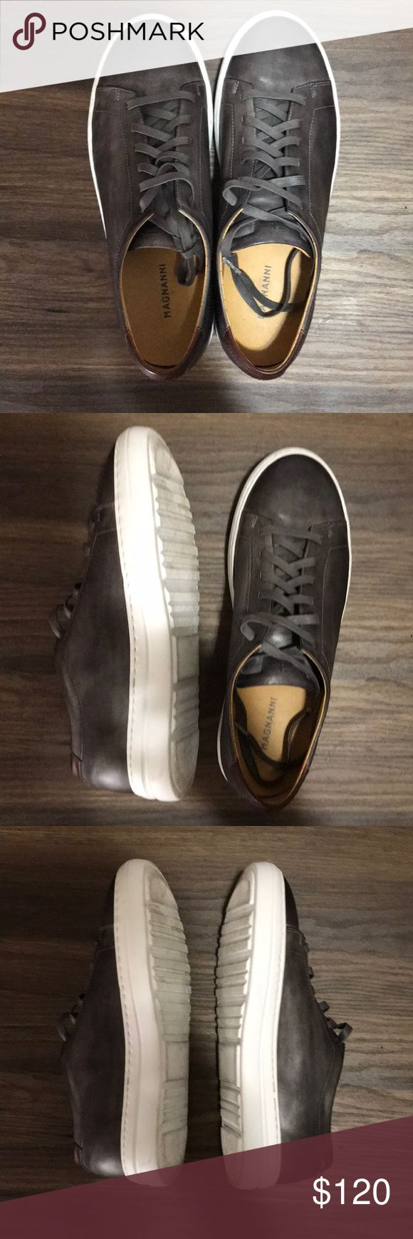 Magnanni Shoes Size 9.5 M The Bartolo Grey is a luxurious cup sole fashion sneak...