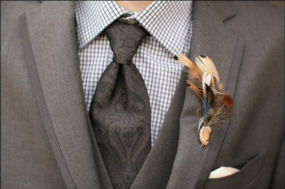 The WOODLAND Collection.Boutonniere Tie Fly Fishing ButtonHole Brown Blue Cream ...