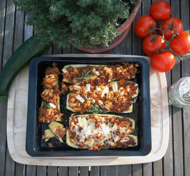 Stuffed zucchini with minced meat and Feta family cuisine. , fast and easy ...