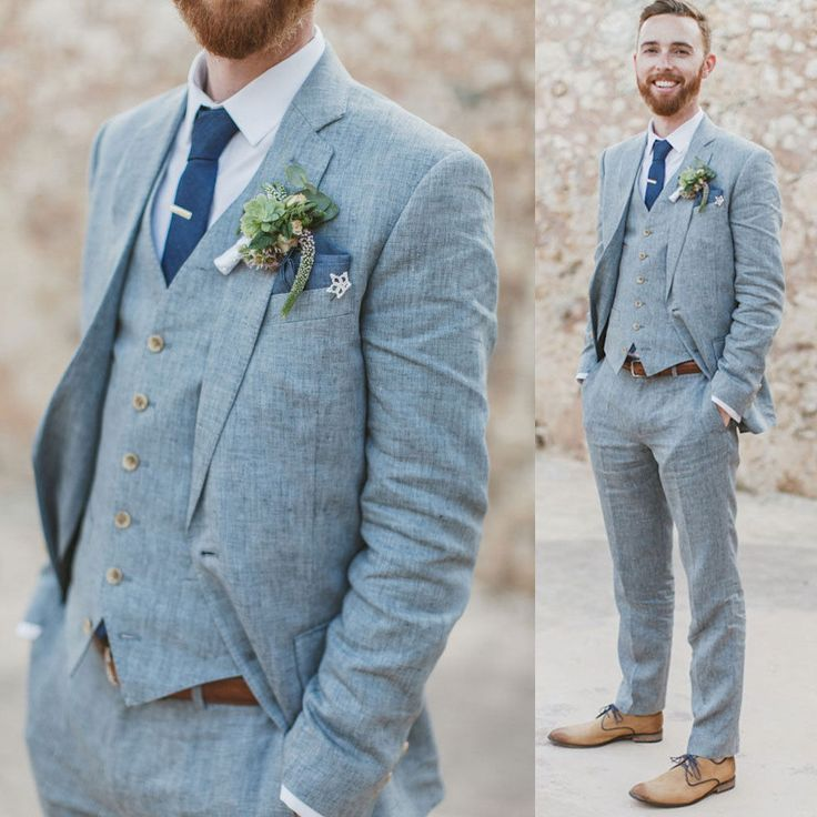 Blue Tuxedos Wedding Suits Party Groom 3 PCS Best Man Suits After Men
