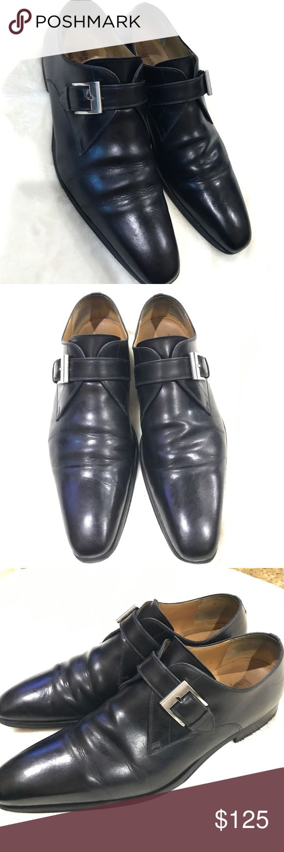 Magnanni Leather Single Monk Strap Black Shoe Great used conditions.    Leather ...