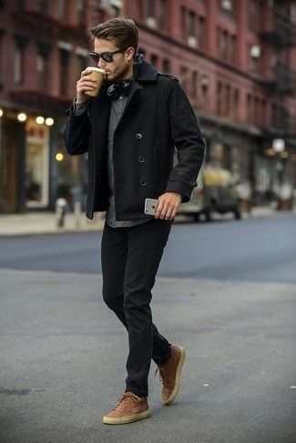Combine a black pea coat jacket with black jeans to create an elegant, ...