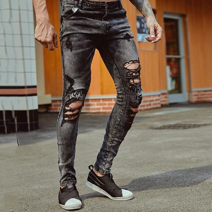 Rock Style Ripped Men Black Jeans With Zipper Detail – FanFreakz