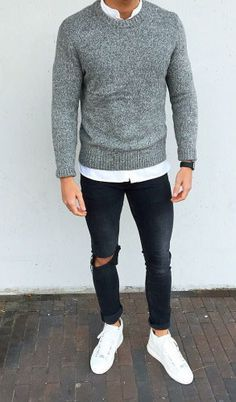 Very modern casual style for men with white sneakers, black jeans and ...
