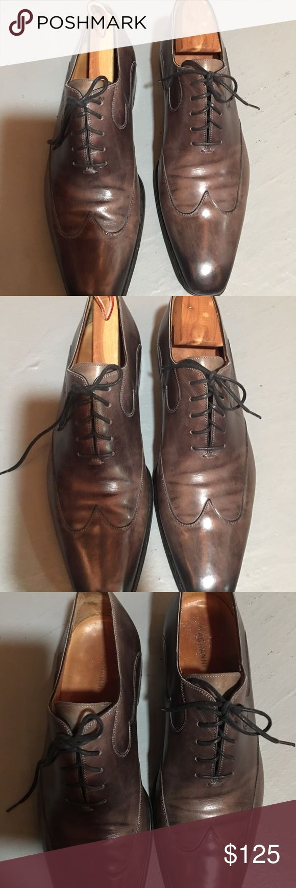 Magnanni leather shoe for men. Magnanni men's shoe. Brown lace up. Size 10. Go...