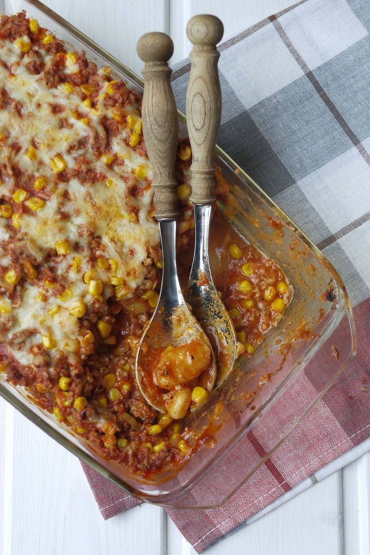 Gnocchi hack casserole, casserole, gnocchi, minced meat, cooking, corn