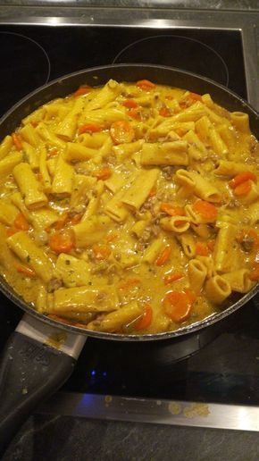 Curry cream - pasta with minced meat, a great recipe from the category of vegetables ....