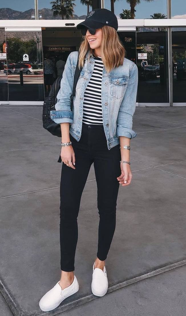 casual outfit with a denim jacket: bag striped top black skinny ever ...