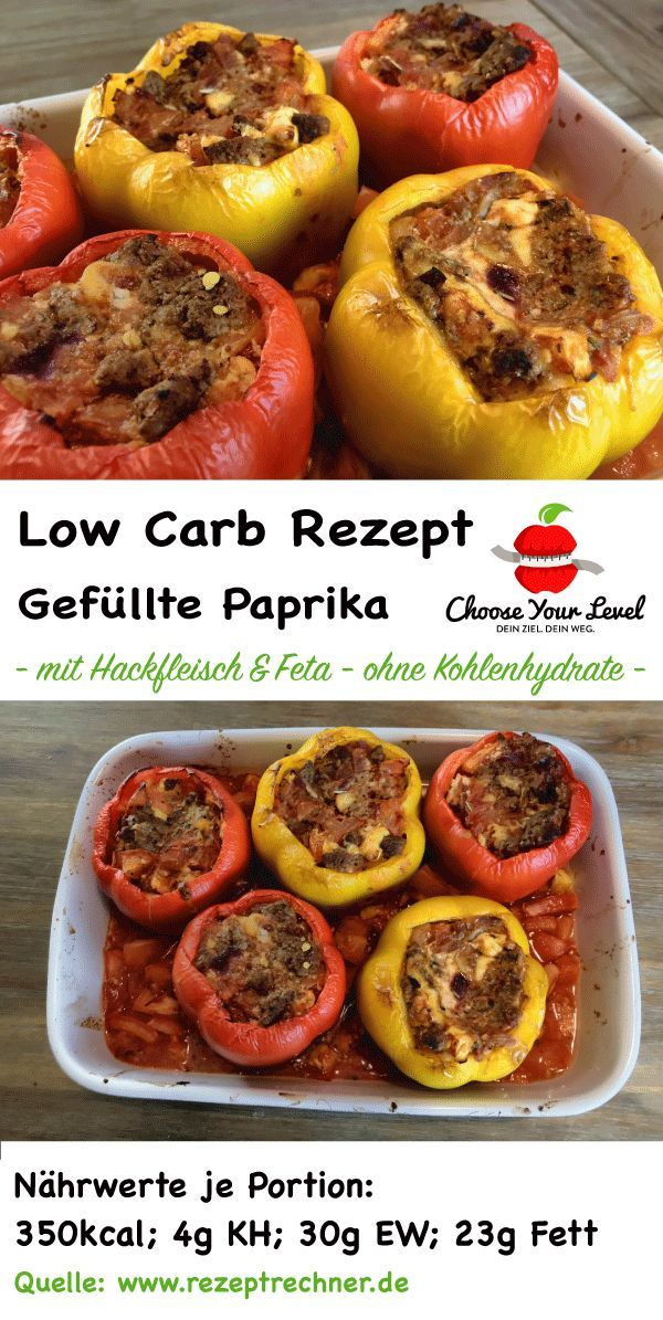 low carb stuffed peppers with minced meat and feta - low carb dishes - filled with ...