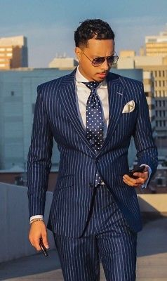 Navy-Blue-Striped-Groom-Mens-Tuxedos-Business-Party-Wedding-Suit-Tailored-Custom