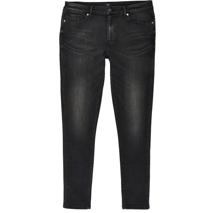 Mens River Island Black Ollie spray on skinny washed jeans