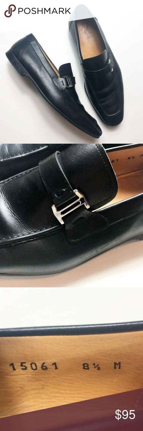 Magnanni Black Slip On Shoes Loafers Size 8.5 Magnanni Slip On Loafers with Silv...