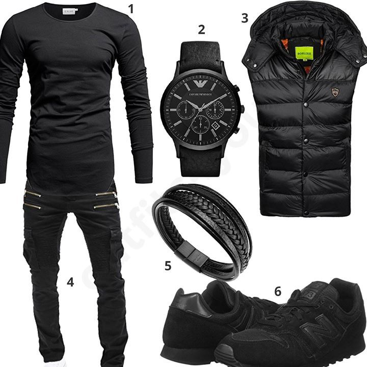 Black Men's Outfit with Crone Longsleeve, Emporio Armani Watch, Bolf Vest, Me ...