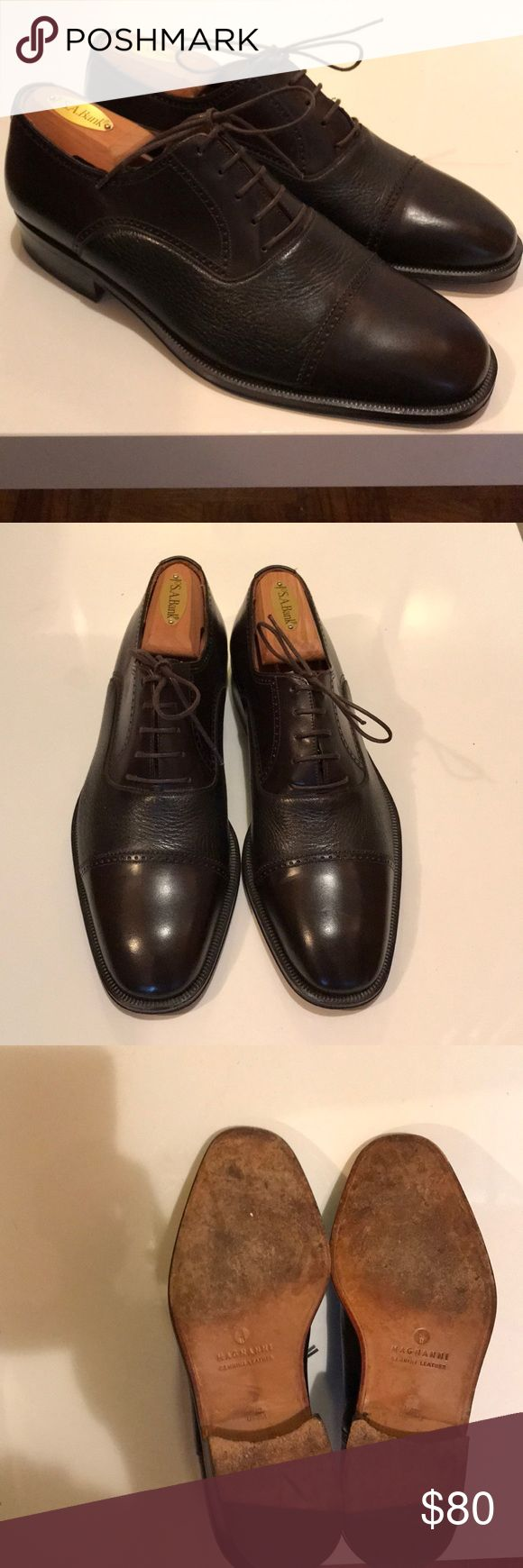 Magnanni brown leather shoes R 9, L 8.5 Excellent used condition men's brown l...