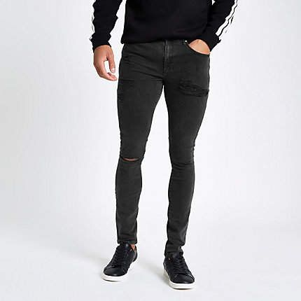 River Island Black Ollie spray on ripped jeans