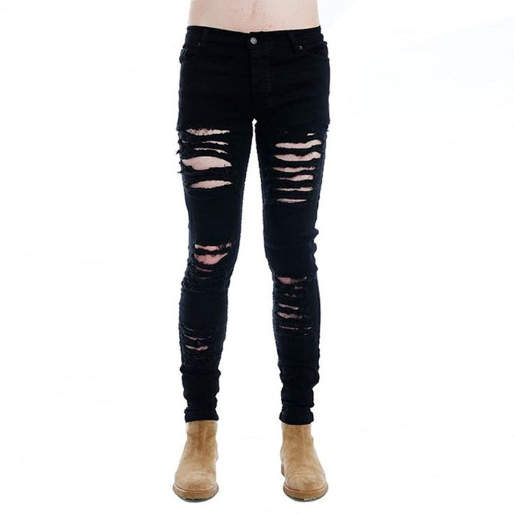 Mens Punk Hipster Hole Skinny Denim Slim Biker Ripped Jeans Street Wear - Black ...