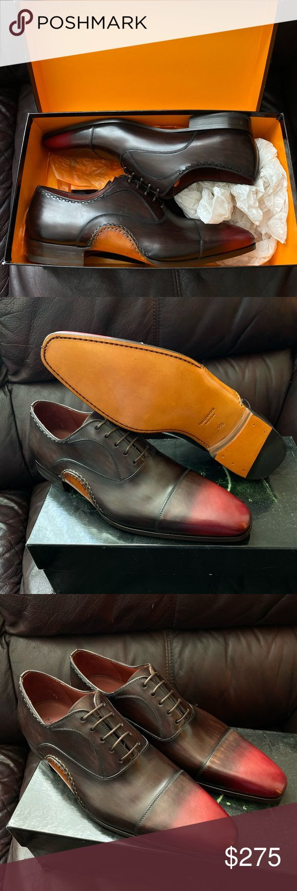 Magnanni Axel Brown Red Cap Toe NEW Size 9.5 Magnanni Cap Toe Style: Axel Brand ...