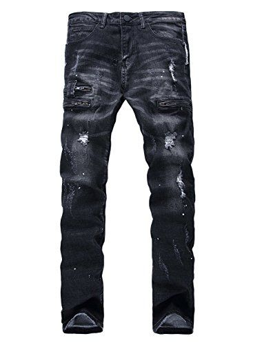 YTD Mens Zipper Biker Jeans Ripped Distressed Slit Denim Slim Stretch Moto Pants...
