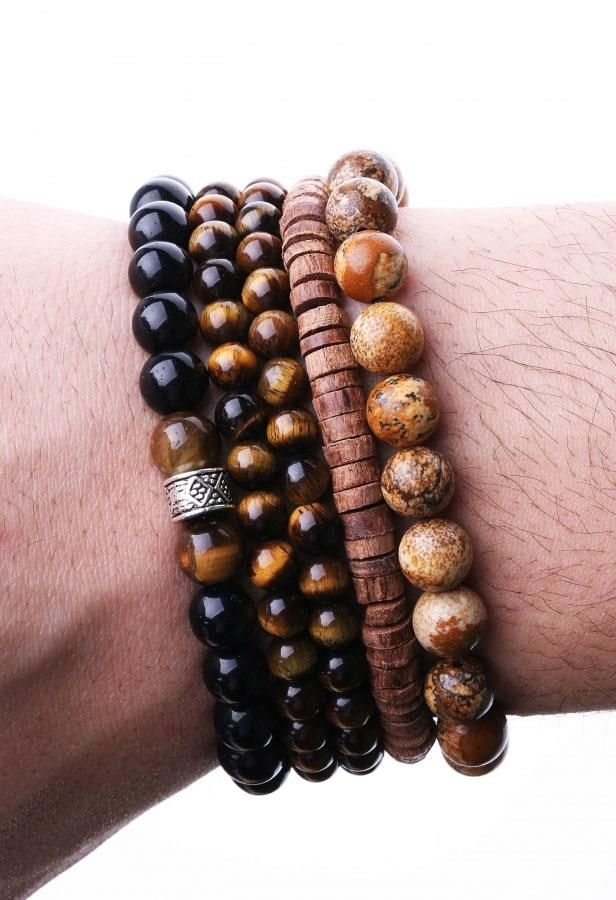 Special Design Natural Stone, Combined Men Bracelet
