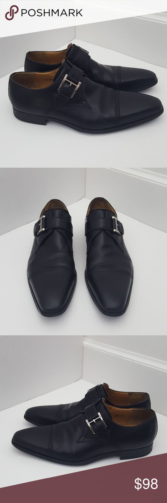 Magnanni black leather buckle oxfords 9.5 M Preowned with creasing, scuff, soil ...