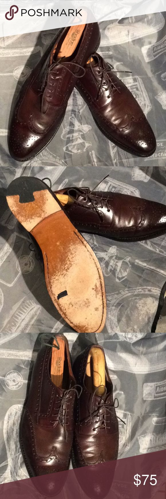 Size 11 Magnanni wing-tip Men's dress shoes Very nice Magnanni dark brown wi...
