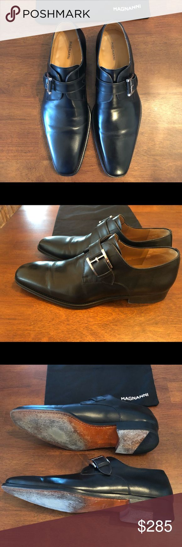 Magnanni -Marco Monk Strap Loafer Black Size 10M Box-Dust Bag included- Barely w...