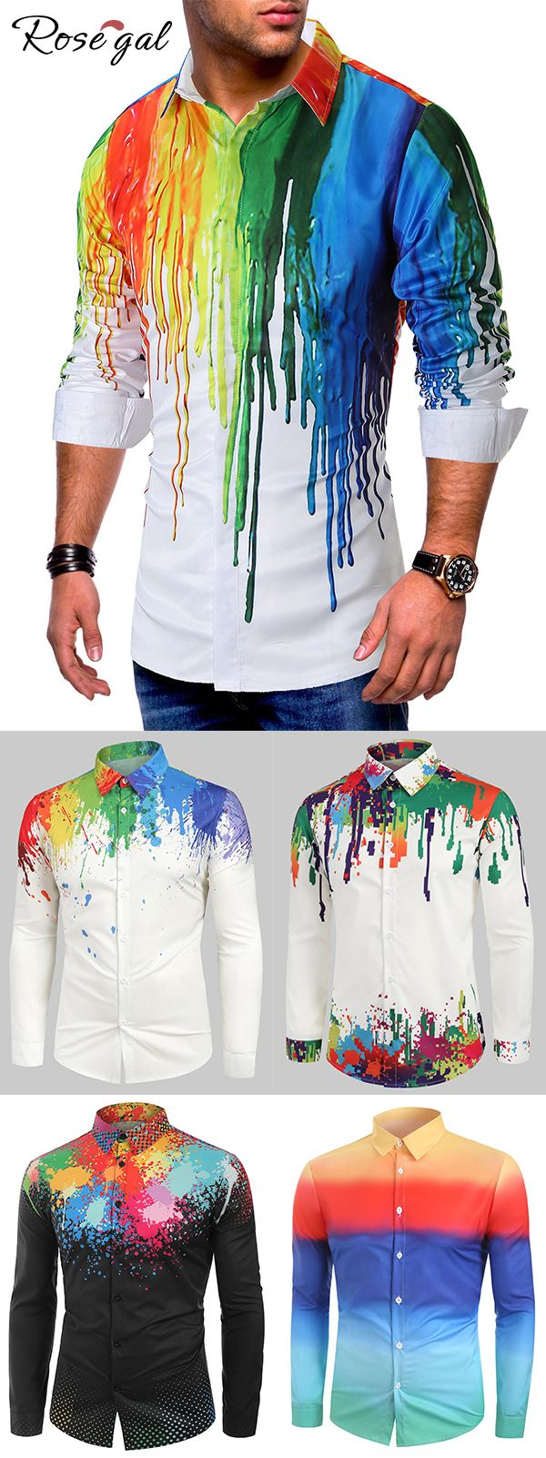 Rosegal Colorful Painting Splatter Print Long Sleeves Casual Shirt mens outfits ideas