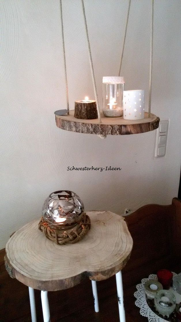 Schwebende Baumscheibe als Wohnaccessoire / floating table made of made of wood ...
