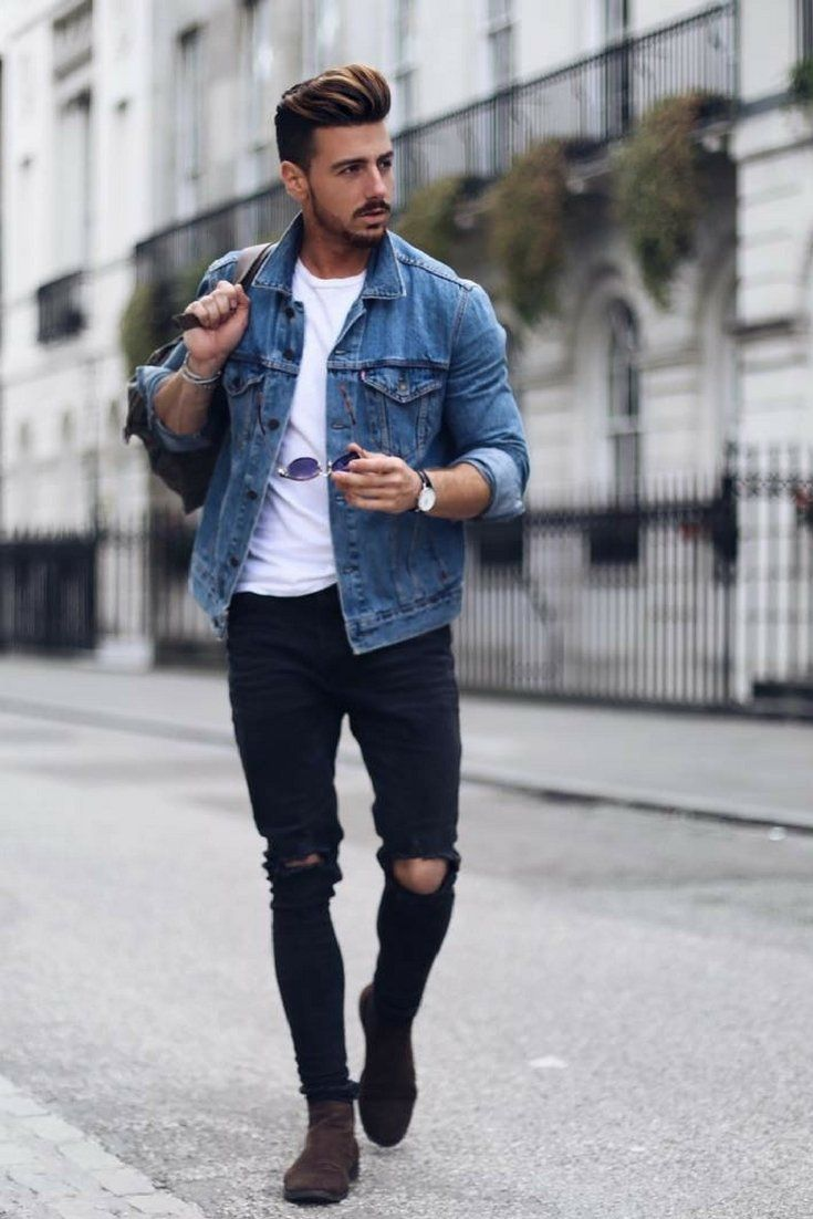 Jeans Jacket Outfits For Men  Jeans Jacket + White Tee + Chelsea Boots + Black R...
